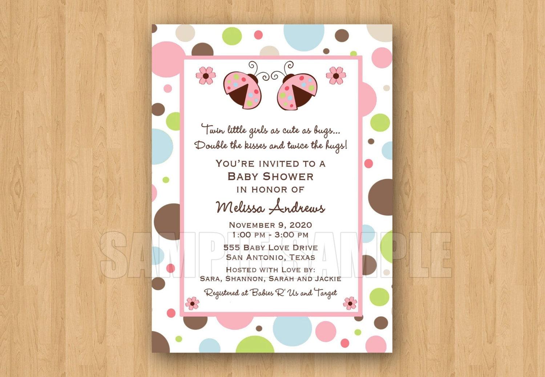 Twins Ladybug Lullabye Baby Shower or 1st Birthday Invitations   Etsy