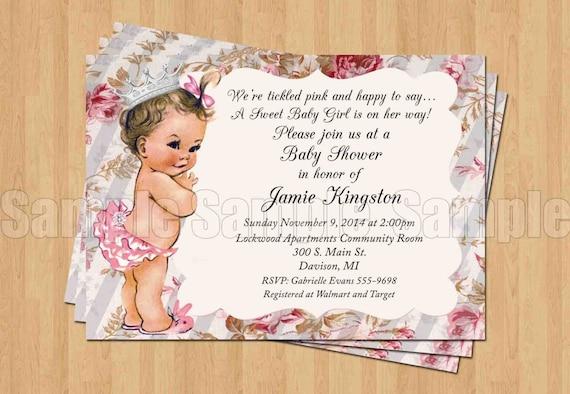 Vintage Baby Girl Princess Baby Shower Invitations Digital Etsy