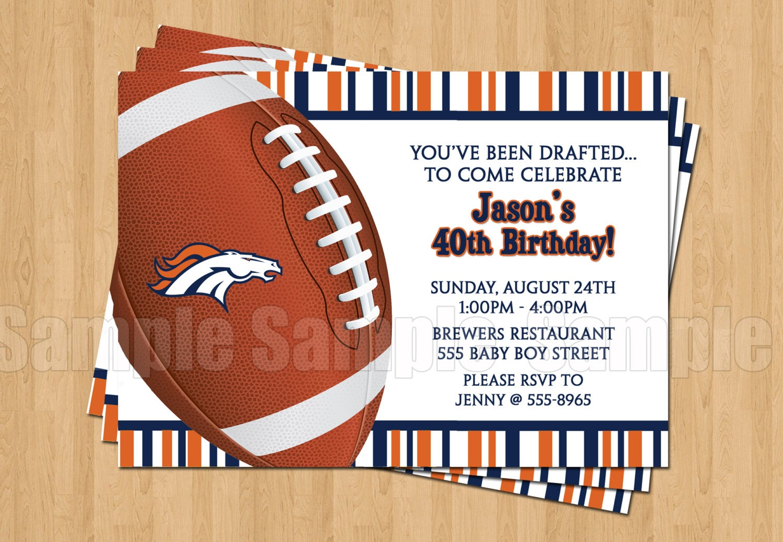 Denver Broncos Football Birthday Bachelor Party Invitations   Etsy