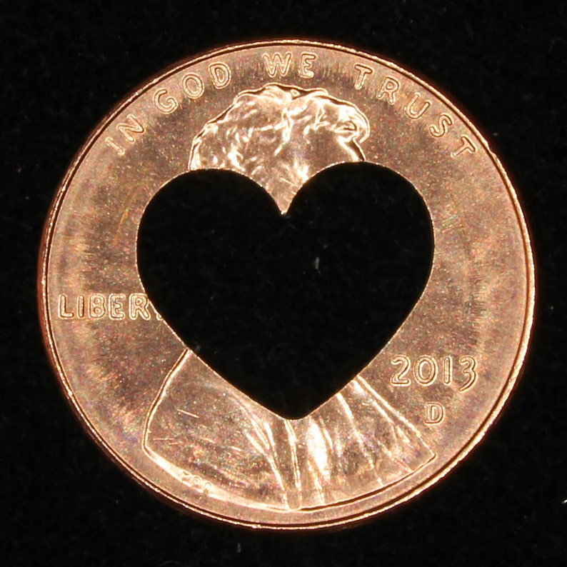 Lucky penny with heart cut out image 0