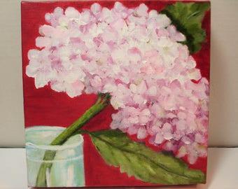 Pink Hydrangea Painting - Deep Crimson Background - 8x8 deep edge Canvas - Original Flower Art -