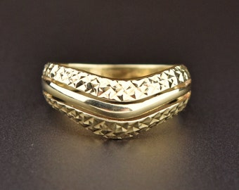 Curved Ring By Artsmyrna 24k Gold Vermeil Rings for Women V Ring Dainty Gold Over Filled Ring Gold Over Hammered Chevron Ring