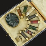 DEPOSIT Scottish Agate Bracelet, Bloodstone Gold Sterling Silver Vermeil Souvenir Victorian Bracelet, Wide Antique Agate Jewelry 1800s