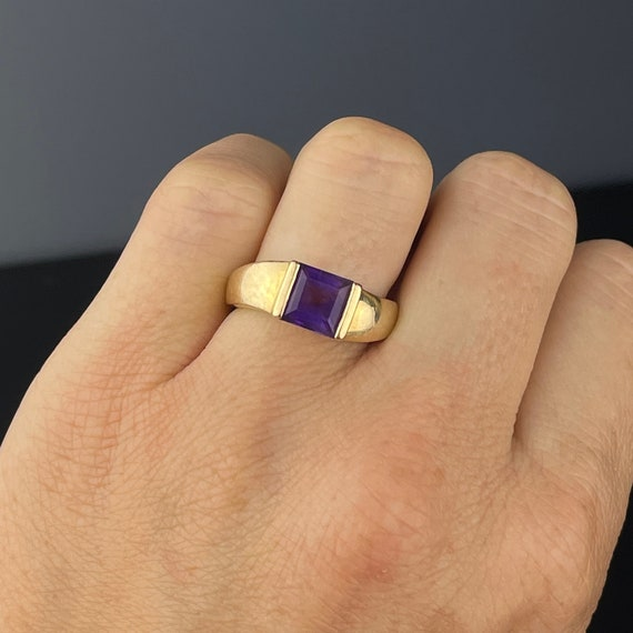 Gold Amethyst Solitaire Ring, 14K Gold Solitaire … - image 5