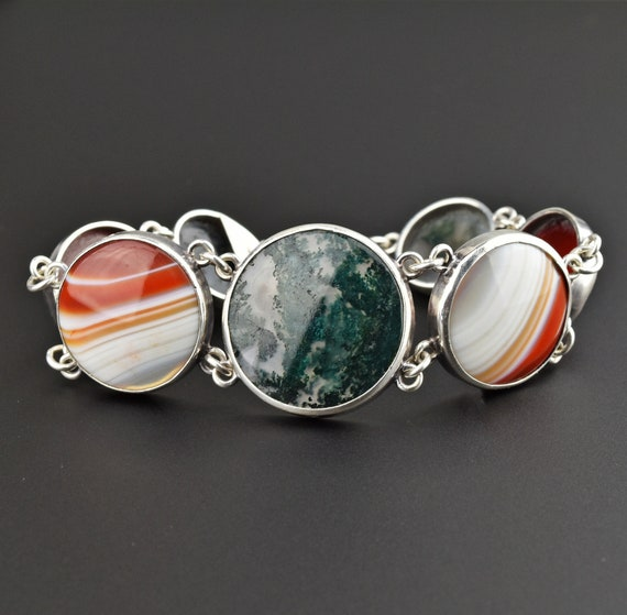 Scottish Banded Agate Bracelet, Silver Picture Aga