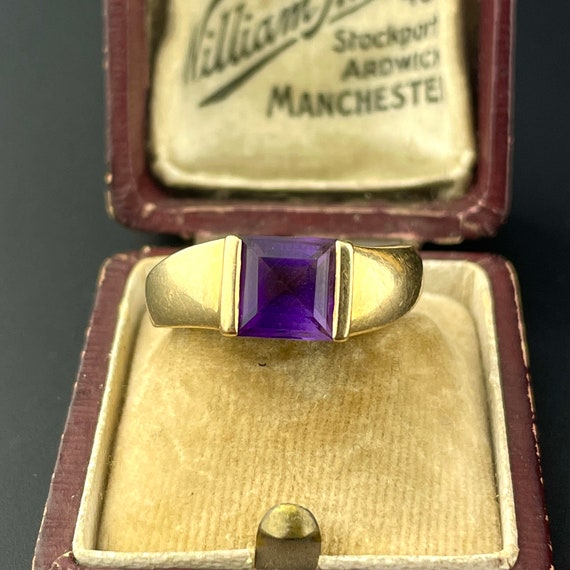Gold Amethyst Solitaire Ring, 14K Gold Solitaire … - image 2