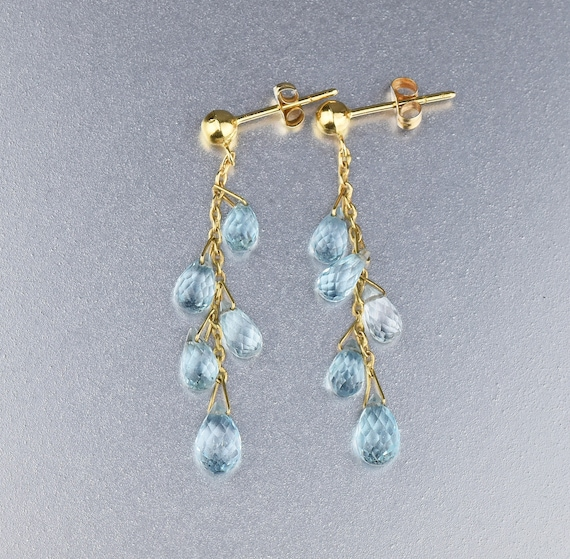 Vintage Ultima Edizione 800 Silver Blue Glass Gemstone Earrings