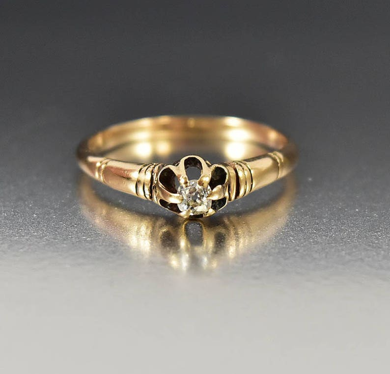 d6a4448f5eb44 Antique Diamond Engagement Ring, 14K Yellow Gold Victorian European Cut  Solitaire Natural Diamond Ring, Vintage Buttercup Ring, Size 5.75,