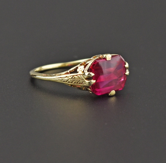 Antique Gold Ruby Ring, 14K Yellow Gold Art Deco R