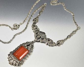 Art Deco Necklace, Marcasite Necklace, Sterling Silver Carnelian Necklace, Vintage 1920s Necklace, Art Deco Jewelry, Antique Jewelry