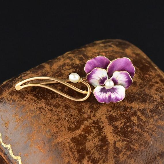 Pearl Enamel Pansy Brooch, 14K Gold Purple Pansy … - image 2