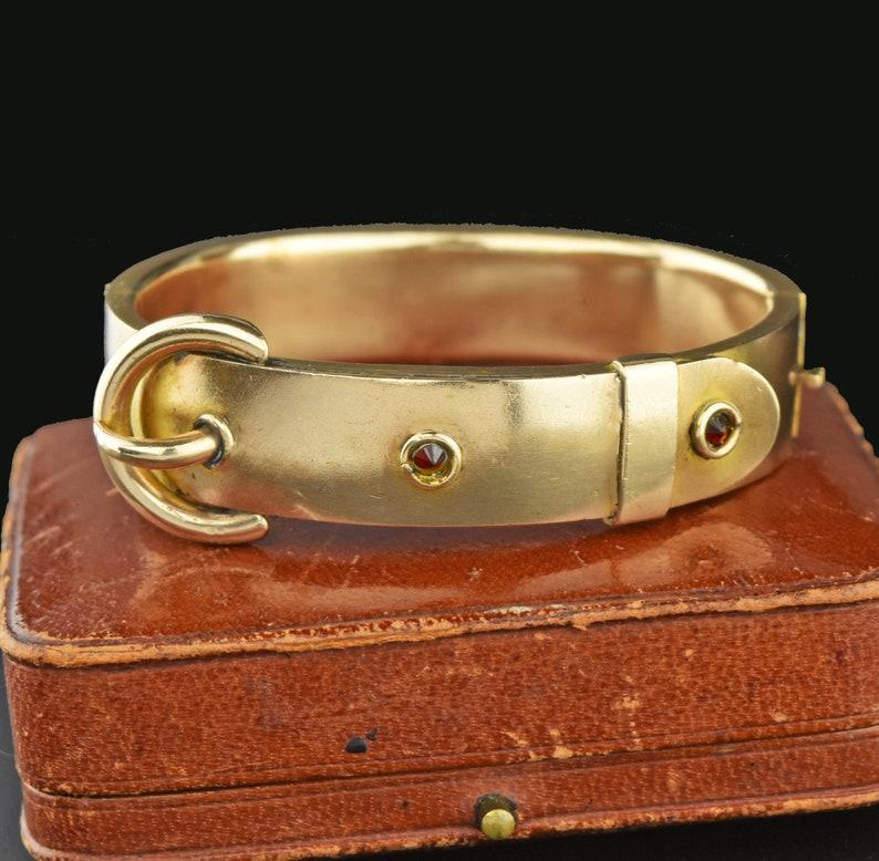 Antique Garnet Gold Buckle Bracelet Yellow Gold Filled Hinged Victorian Bangle Cuff Bracelet Vintage 1890s Edwardian Belt Buckle Bracelet