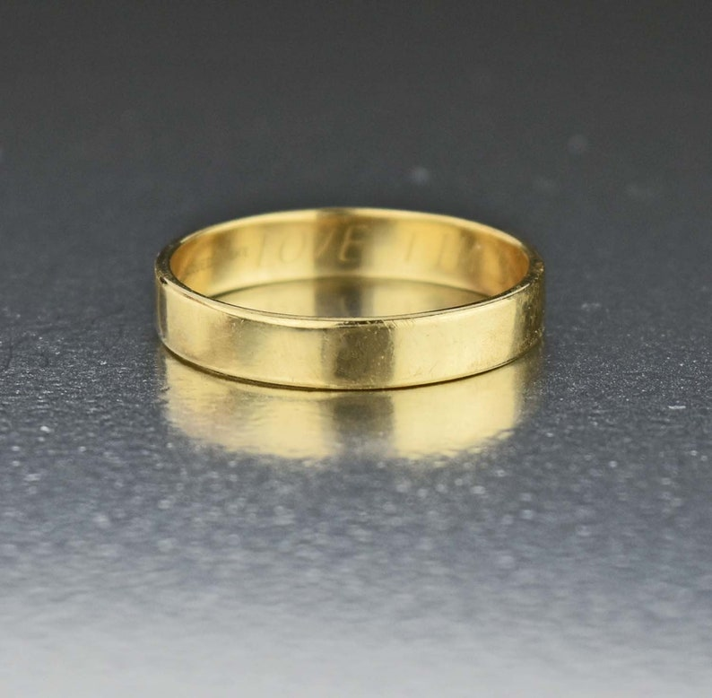 Yellow Gold Wedding Ring Engraved Vintage Bridal Jewelry Vintage 14K Gold Wedding Band Ring Cigar Band Ring Eternity Band Ring