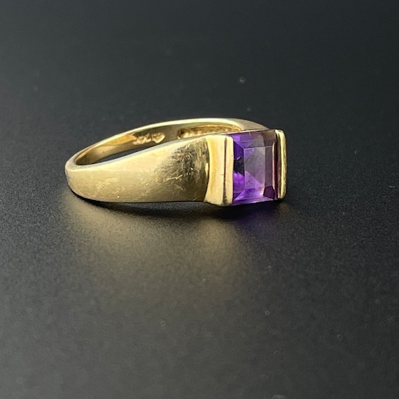 Gold Amethyst Solitaire Ring, 14K Gold Solitaire … - image 3