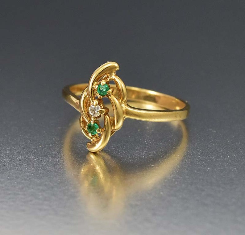 Vintage 10K Gold Diamond Emerald Ring Fine Vintage Jewelry Three Stone Ring Anniversary Cocktail Green Gemstone Stacking Ring