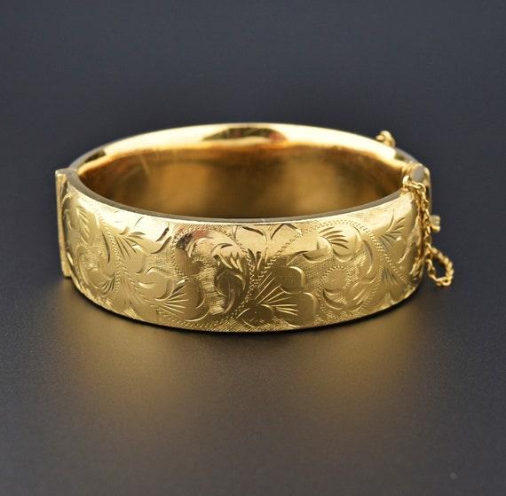 Vintage Gold Cuff Bracelet, Flower Engraved Rolled