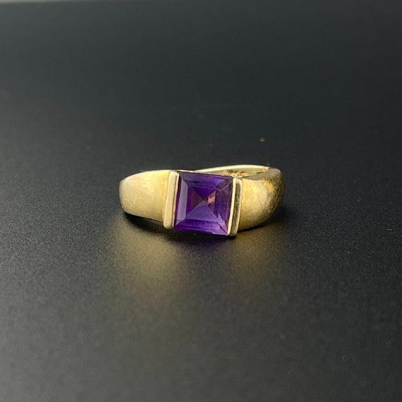 Gold Amethyst Solitaire Ring, 14K Gold Solitaire … - image 1