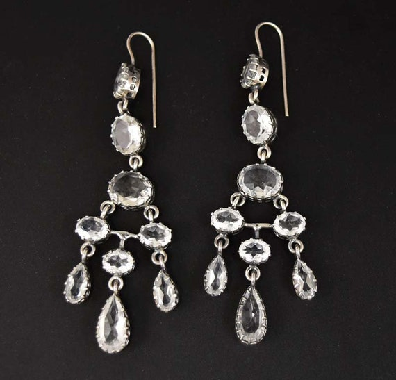 image 0 - Antique Rock Crystal Earrings Silver Quartz Crystal Etsy
