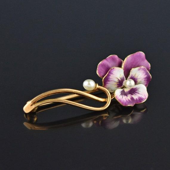 Pearl Enamel Pansy Brooch, 14K Gold Purple Pansy … - image 4