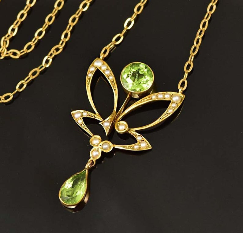 d8403e281a526 Antique Peridot Necklace, Solid Gold Edwardian Seed Pearl Pendant Lavalier  Necklace, Butterfly Anniversary Gift Animal 1900s Vintage Jewelry