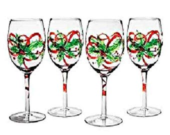 christmas wine glasseschristmas wine glasscustom wine glasshand painted christmas glasschristmas glassware holiday wine glasses
