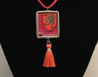 Switzerland Swiss Postage Stamp Bird Necklace Soldered Pendant - Free Shipping in US -