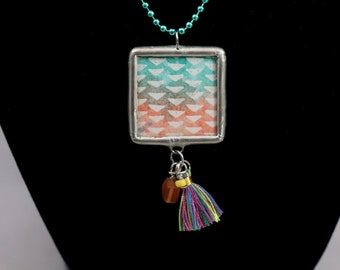 Double Sided Boho Festival Necklace Soldered Pendant - Free Shipping US -