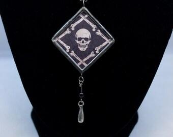 Reversible Skull and Crossbones Skeleton Zig Zag Halloween Necklace Soldered Pendant