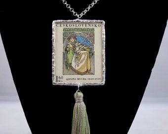 Alfons Mucha Princess Hyacinth Czechoslovakia Postage Stamp Necklace Soldered Pendant - Free Shipping in US -