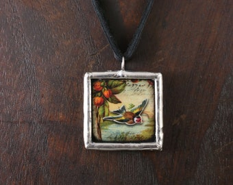 Small Sweet Bird and Flower Double Sided Necklace Soldered Pendant - Free Shipping US -