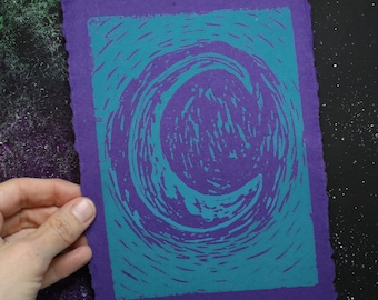 Teal Moon Lino Block Print - Free Shipping in the US -