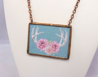 Double Sided Be Brave Antler Flower Necklace Soldered Pendant - Free Shipping US -