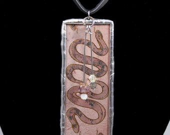 Long Twin Snakes Pink Snakeskin Necklace Double Sided Soldered Pendant - Free Shipping in US -