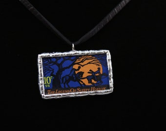 The Legend of Sleepy Hollow Postage Stamp Necklace Soldered Pendant - Free Shipping in US -
