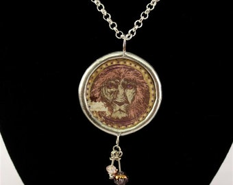 Lion Courage Double Sided Soldered Inspirational Necklace Pendant - Free Shipping in US -
