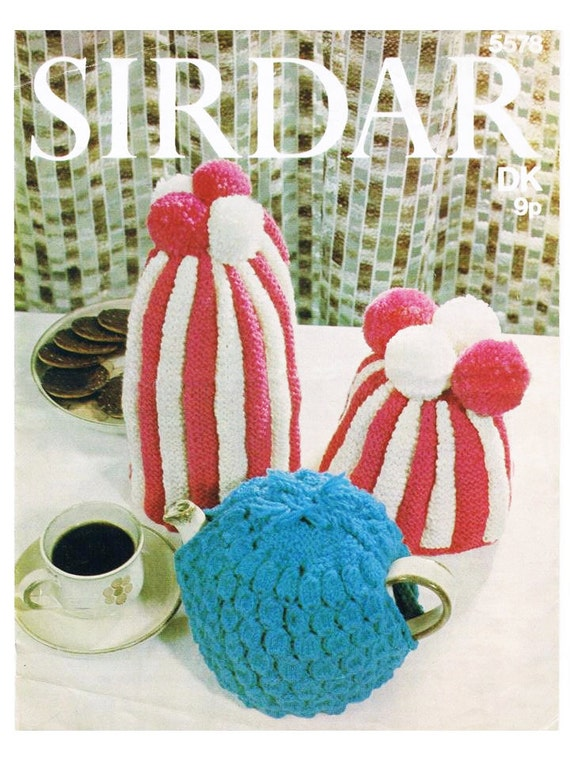 Knitted Striped Tea Cosy And Coffee Pot Cover And One Plain Etsy