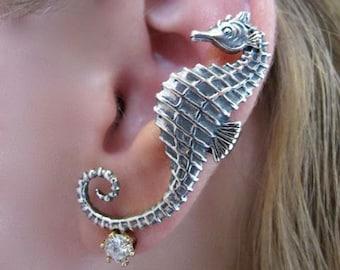 Seahorse Ear Cuff Silver - Sea horse Ear Cuff - Seahorse Earring Seahorse Jewelry Silver Seahorse - Non Pierced Earring Non Pierced Ear Cuff