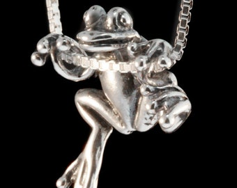 Silver Frog Necklace Frog Pendant Frog Charm Tree Frog Necklace Frog Jewelry Silver Charm Animal Charm Frog Gift Statement Necklace Froggy