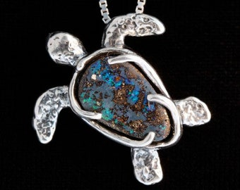 Turtle Jewelry Honu Necklace Sea Turtle Pendant Australian Boulder Opal with Sea Turtle Necklace Seaturtle Charm Tortoise Sterling Silver