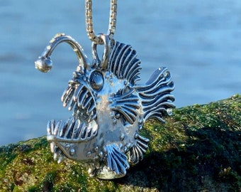 Fish Necklace Large Angler Fish Necklace Free Shipping US Fish Pendant Angler Fish Pendant Fish Scary Fish Lantern Fish Monster of the Deep