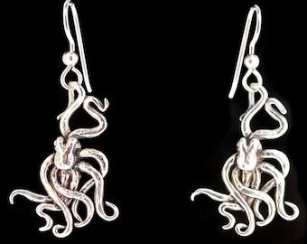 Octopus Earrings Silver Tentacle Earrings Octopus Jewelry Tentacle Jewelry Kraken Earrings Kraken Jewelry Steampunk Jewelry