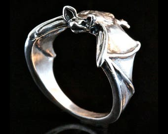 Silver Bat Ring Silver Classic Bat Ring Bat Jewelry Halloween Ring Halloween Jewelry Animal Ring Solid Silver Ring Statement Ring