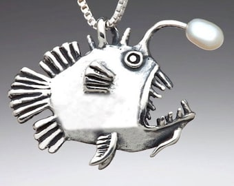 Mans fish pendant hematite adjustable vegan leather gift for angler small fish gemstone carved  teen necklace