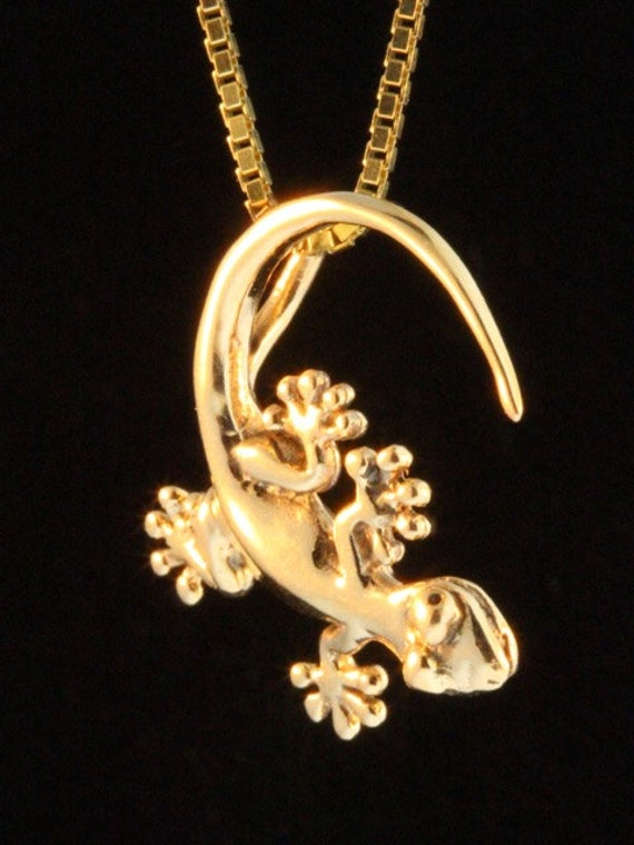 Charm 14k Yellow Gold LIZARD Pendant Made in USA