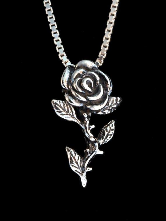 Collier Rose Rose Charme Rose Pendentif Sterling Silver Rose Fleur