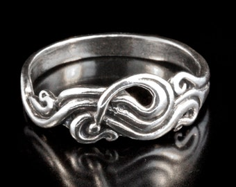 Sterling Silver Ring Swirl Ring Wave Ring Nouveau Swirl Ring Wave Jewelry Swirl Jewelry Pinky Ring Wave Jewelry Abstract Ring Spiral Ring