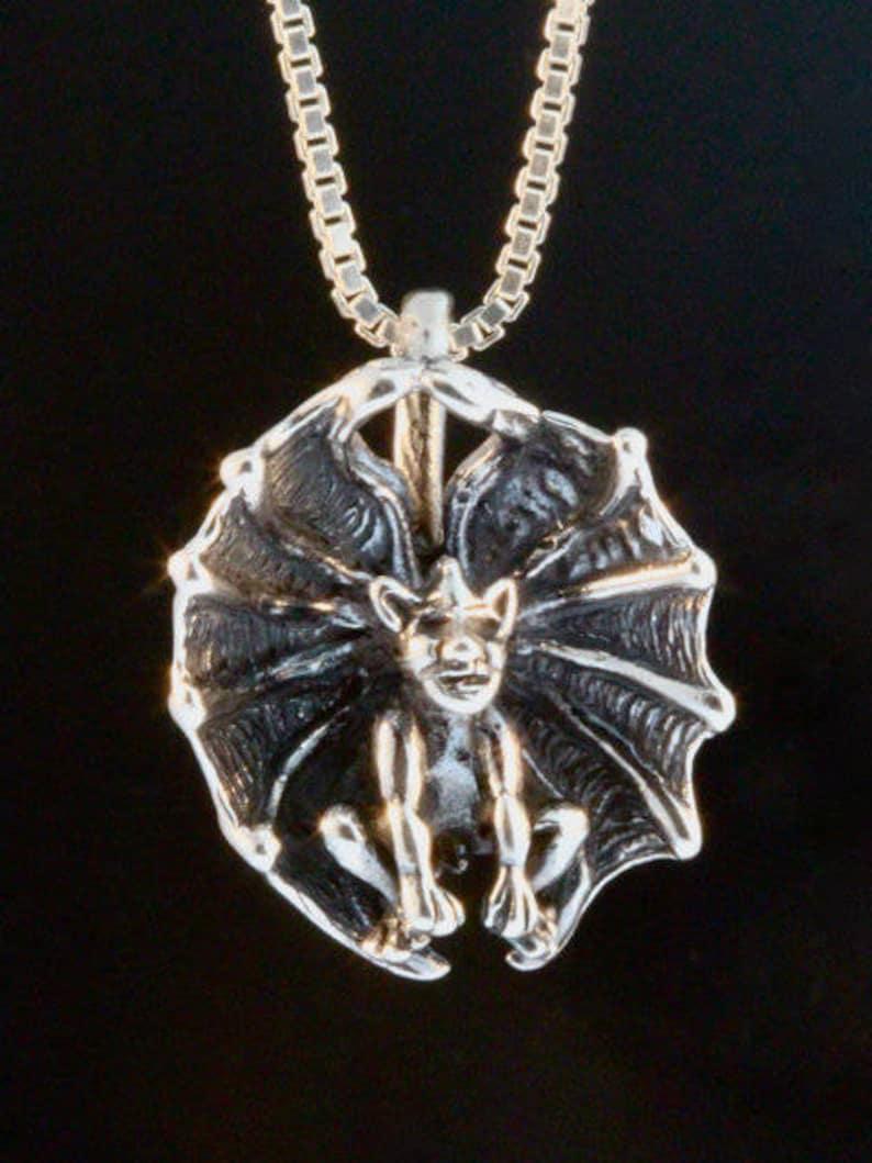 df7982c84 Silver Gargoyle Pendant Cupped Winged Gargoyle Charm Gothic   Etsy