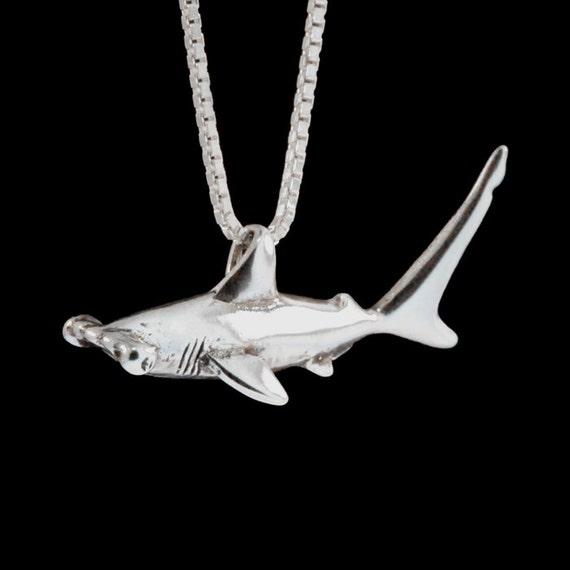Sterling Silver Hammerhead Shark Necklace,Ocean Lover Jewelry,Beach Animal Stuff