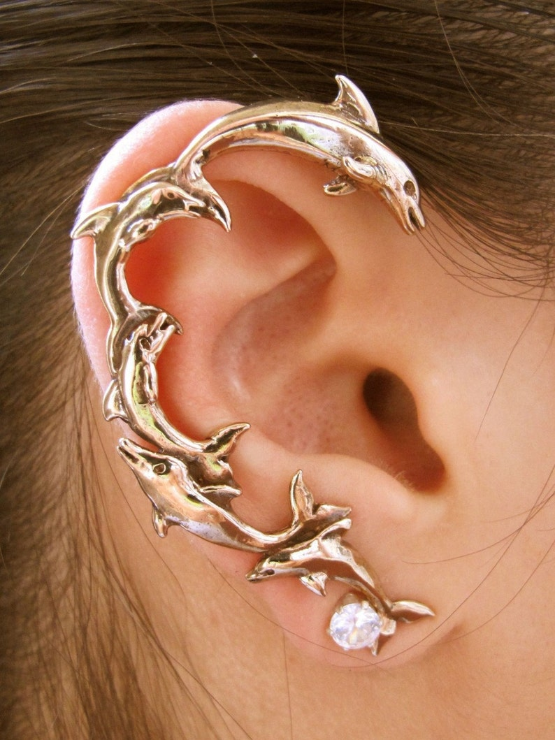 Dolphin Ear Wrap Dolphin Jewelry Whale Tail Ear Cuff Whale Jewelry Fashion Accessories Ear Cuff Combo Special