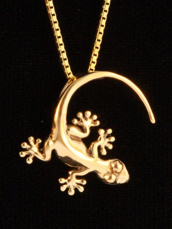 Sterling Silver One Sided Desert Lizard Gecko Necklace